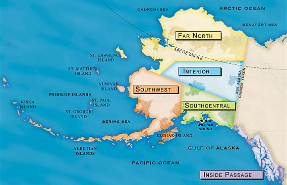 Clickable map of Alaska\'s five regions ... AlaskaWeb